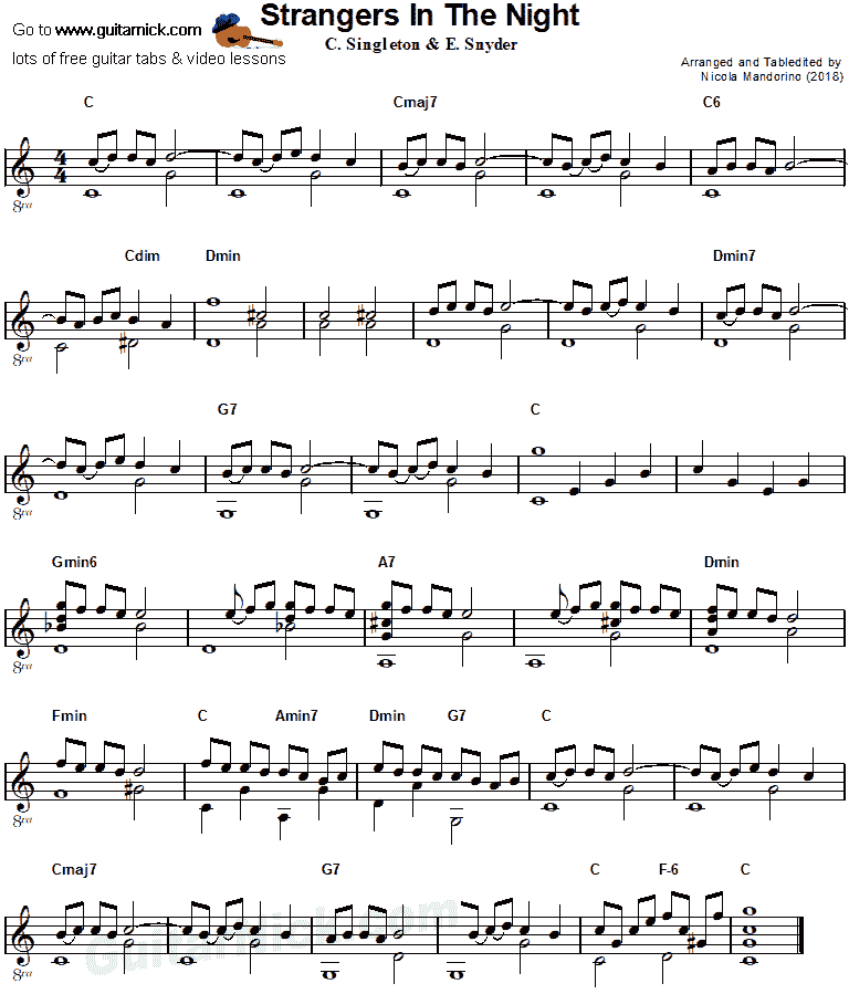 Strangers in the Night - fingerstyle guitar sheet music