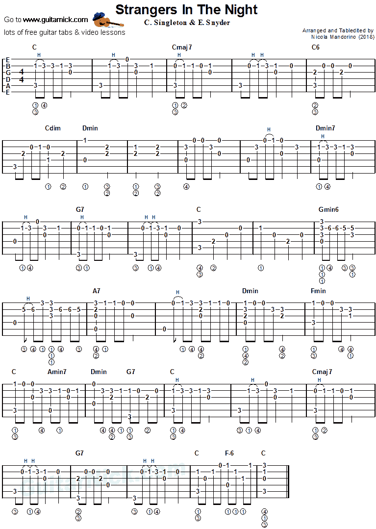 Strangers in the Night - fingerstyle guitar tab