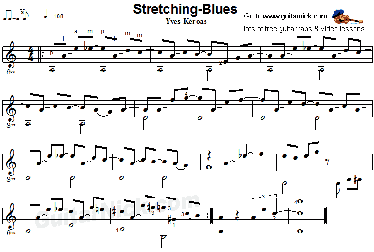 Stretching Blues - fingerstyle guitar sheet music