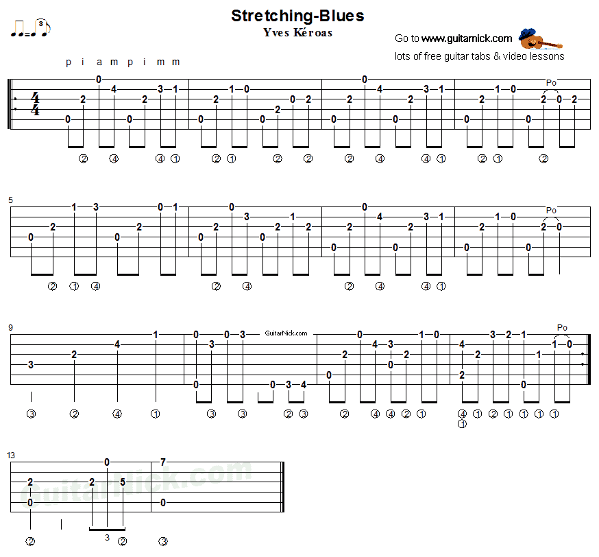 Stretching Blues - fingerstyle guitar tab