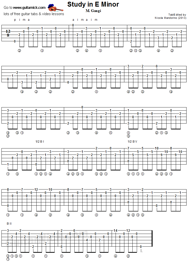 Study In E Minor (Gangi)- classical guitar tab