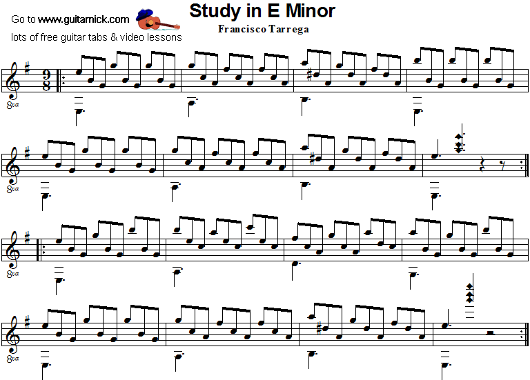 Study In E Minor (Tarrega) - classical guitar sheet music