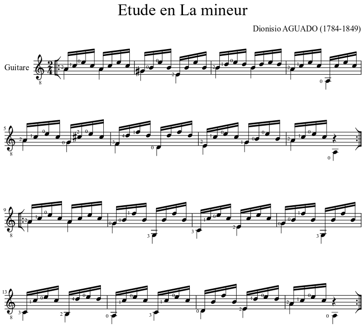 Study in A Minor (Aguado) - classical guitar sheet music