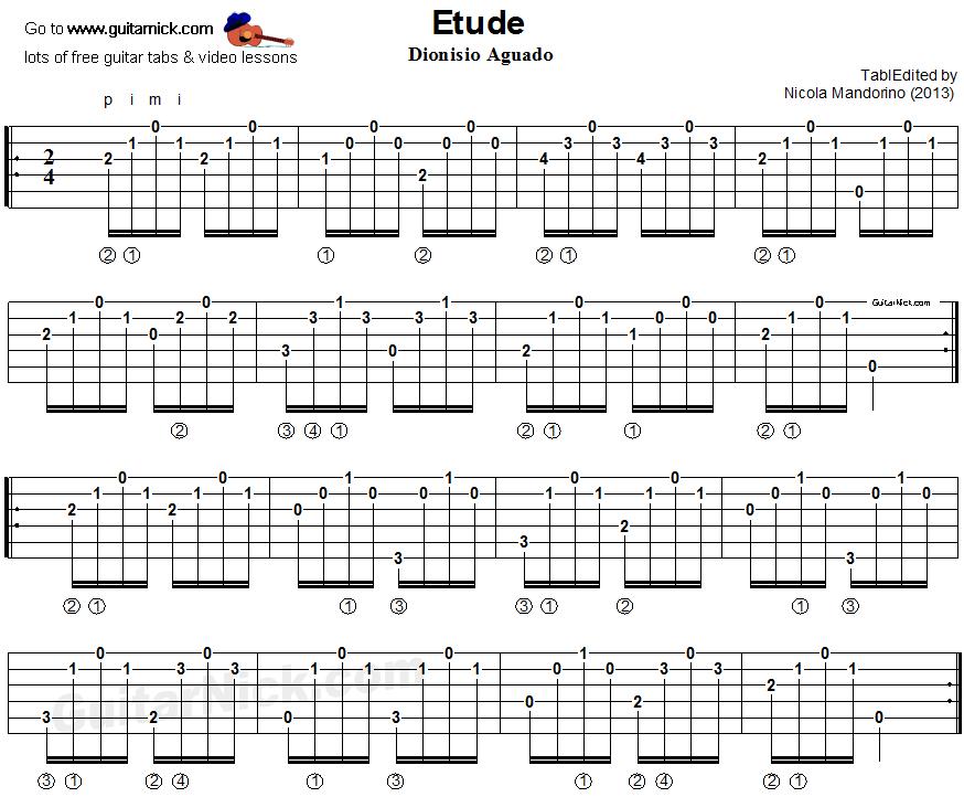 Classical Guitar Tabs : study in a minor aguado classical guitar tab ~ Russianpoet.info Haus und Dekorationen
