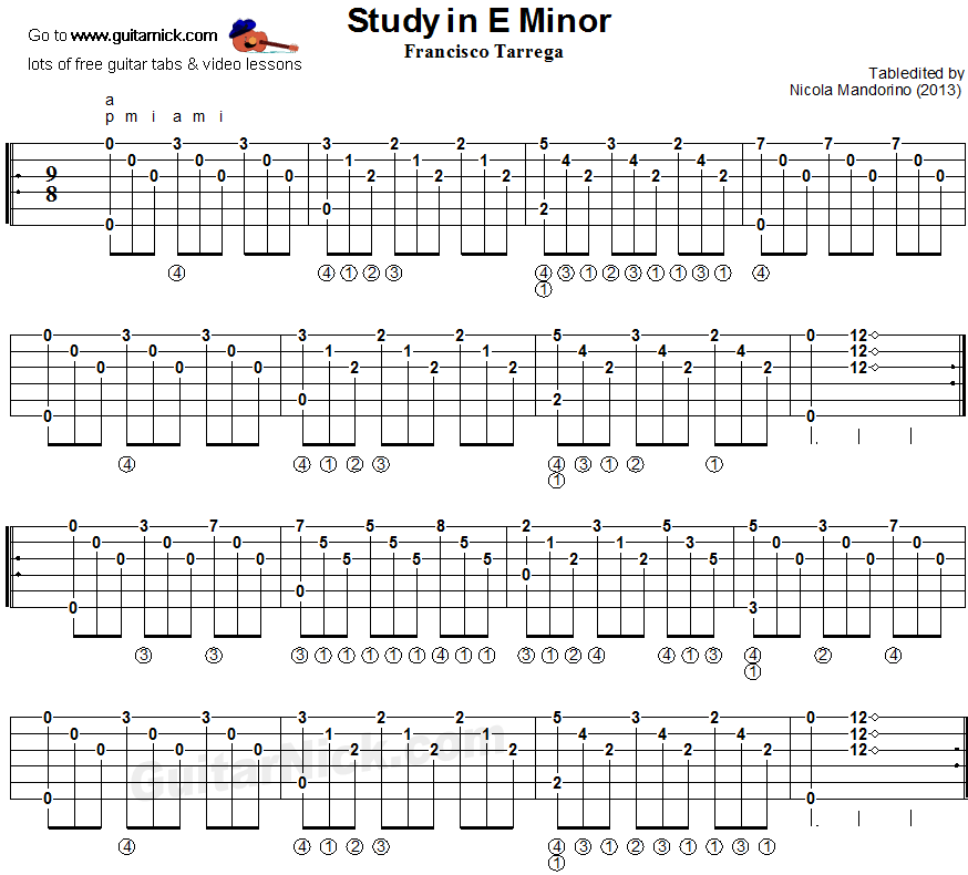 Study In E Minor (Tarrega) - classical guitar tab