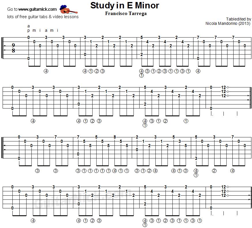 Study In E Minor (Tarrega) Classical Guitar Lesson: GuitarNick.com