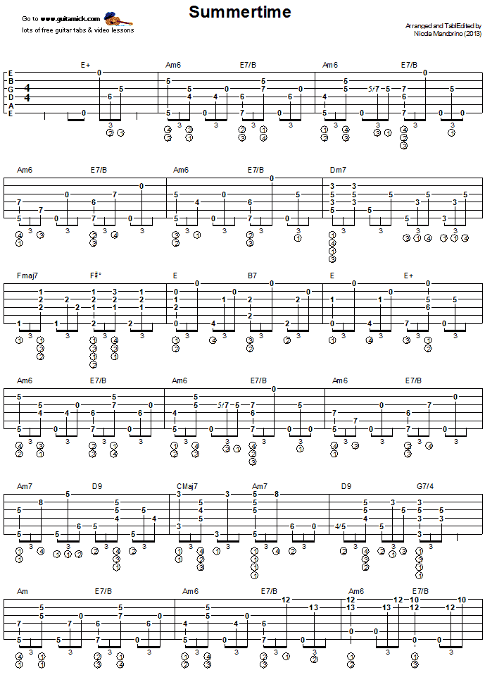 Summertime - Fingerstyle Guitar Tab 1