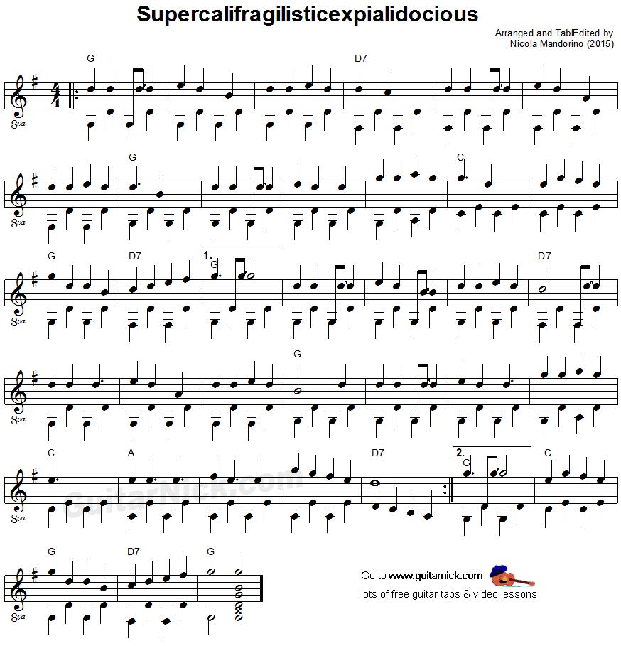 Supercalifragilisticexpialidocious fingerpicking guitar lesson supercalifragilisticexpialidocious fingerpicking guitar sheet music hexwebz Images