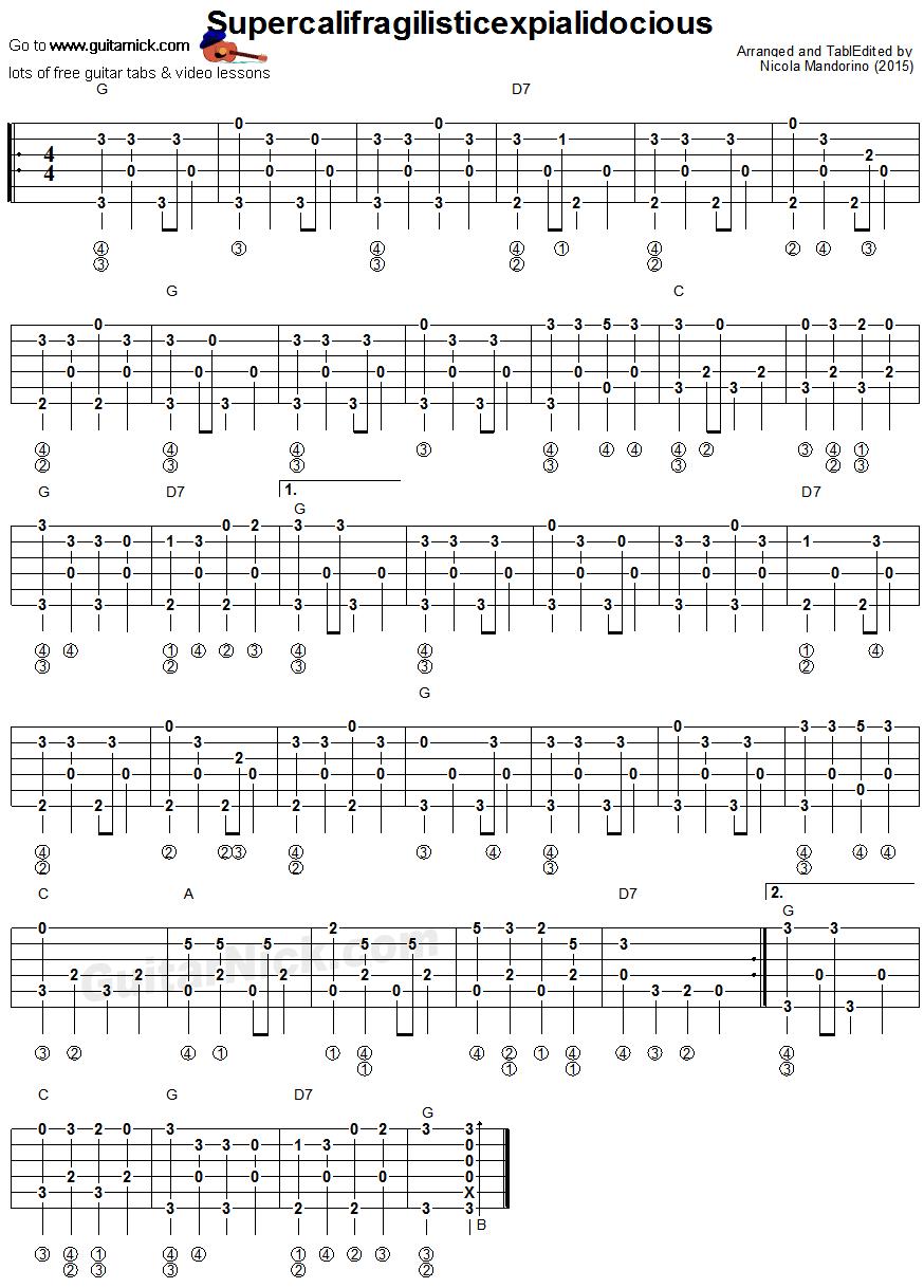 Supercalifragilisticexpialidocious Fingerpicking Guitar Lesson: GuitarNick.com