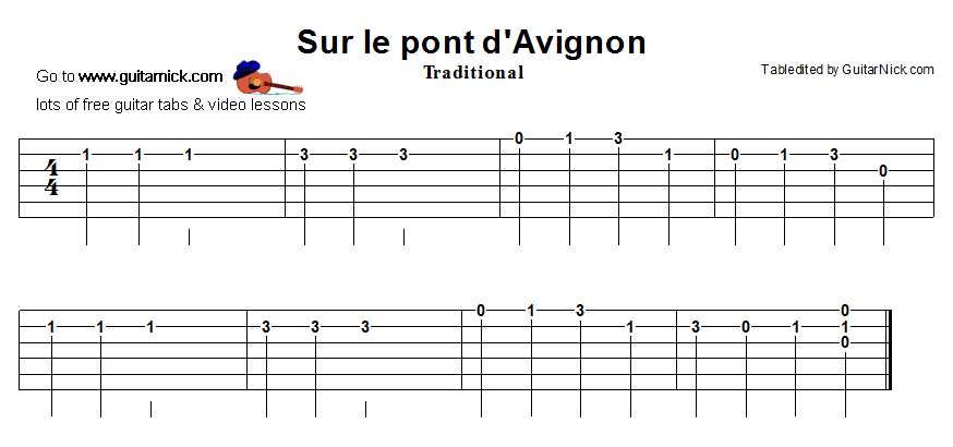 Sur Le Pont D'Avignon - easy guitar tablature
