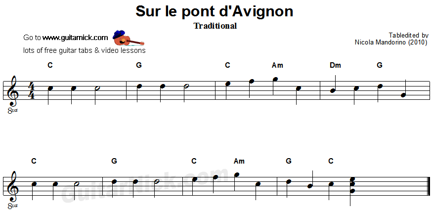 Sur Le Pont D'Avignon - easy guitar sheet music