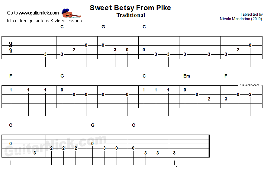 Sweet Betsy From Pikes - easy guitar tablature