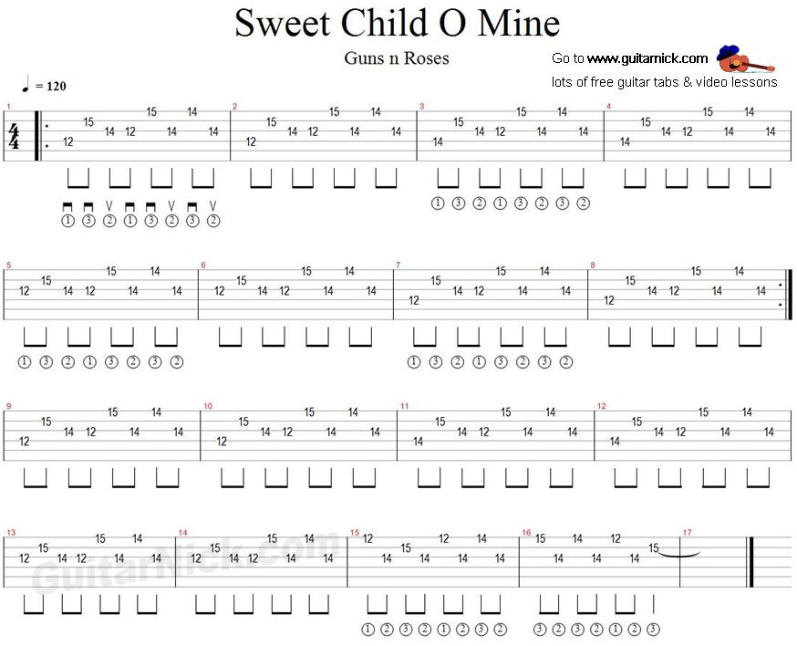 sweet child o 39 mine guitar tab. Black Bedroom Furniture Sets. Home Design Ideas