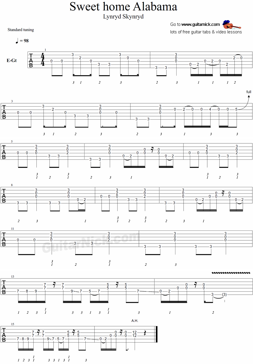 Sweet Home Alabama -  Lynyrd Skynyrd - guitar tablature