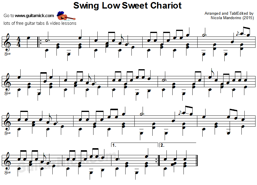 Swing Low Sweet Chariot: fingerstyle guitar sheet music