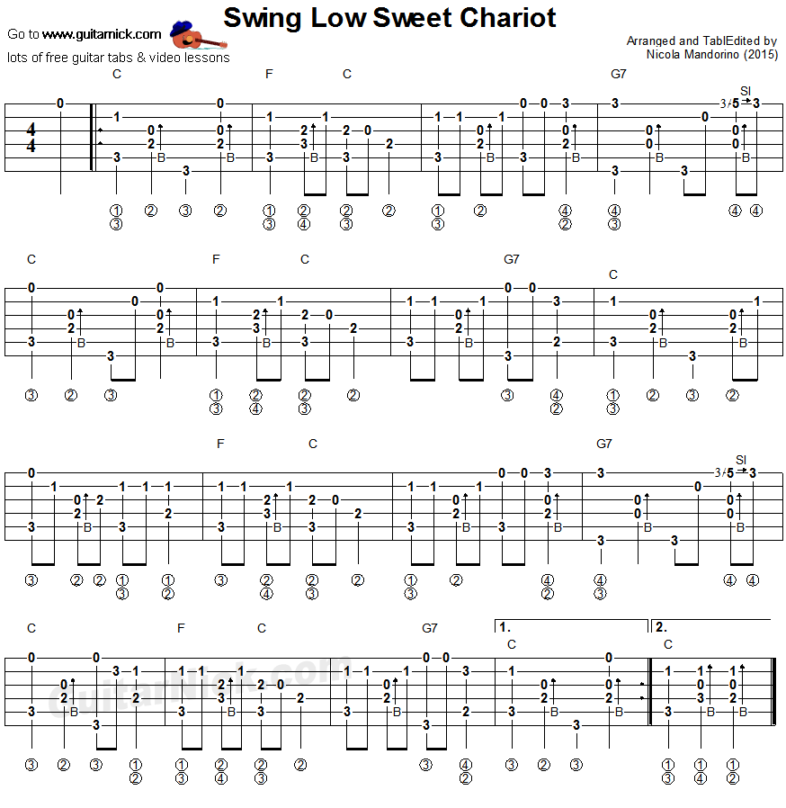 Swing Low Sweet Chariot: fingerstyle guitar tablature