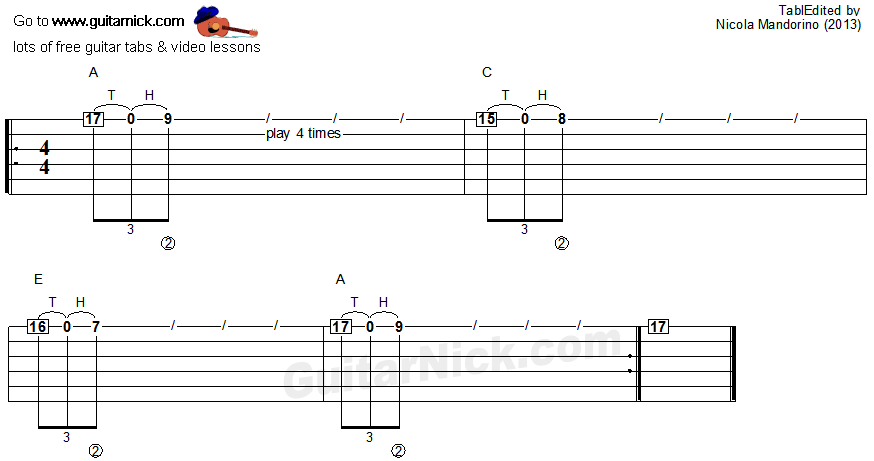 Tapping guitar lesson 10 - tablature
