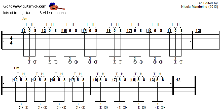 Tapping guitar lesson 12 - tablature