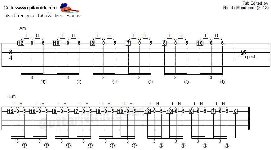 Tapping guitar lesson 13 - tablature