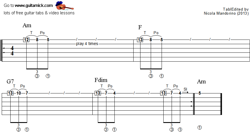 Tapping guitar lesson 14 - tablature