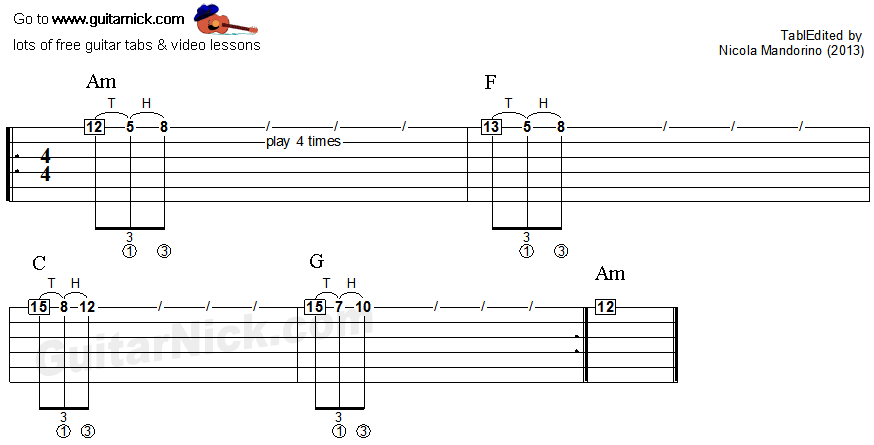 Tapping guitar lesson 18 - tablature