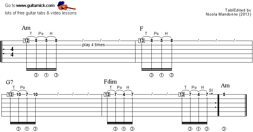 Tapping guitar lesson 20 - tablature