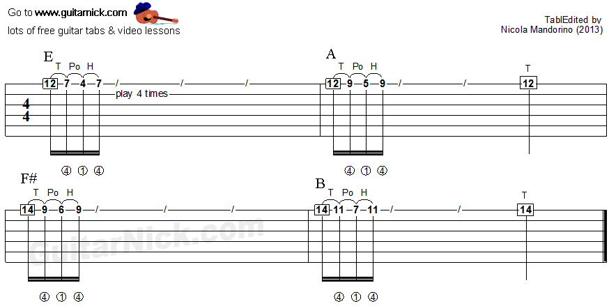 Tapping guitar lesson 21 - tablature