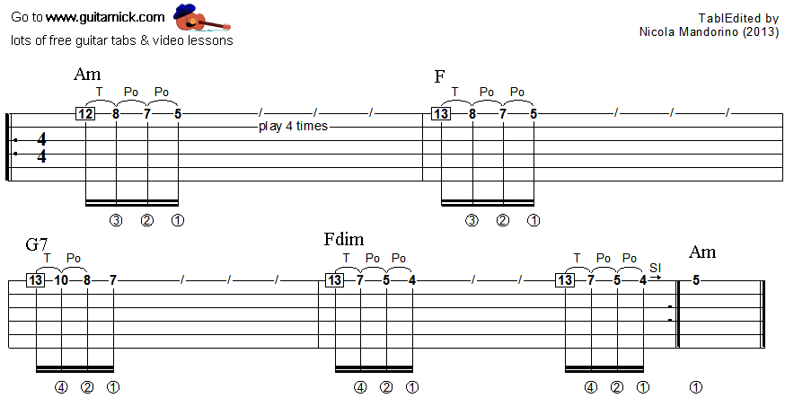 Tapping guitar lesson 22 - tablature