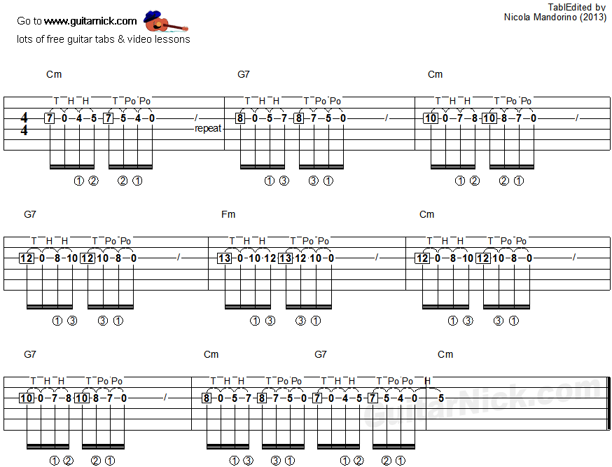 Tapping guitar lesson 23 - tablature