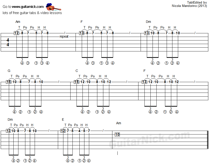 Tapping guitar lesson 24 - tablature