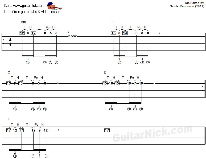 Tapping guitar lesson 26 - tablature