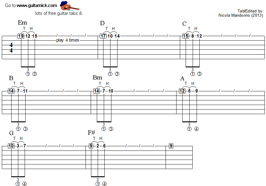 Tapping guitar lesson 29 - tablature