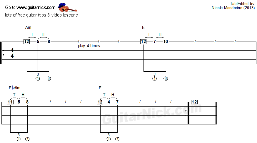 Tapping guitar lesson 3 - tablature