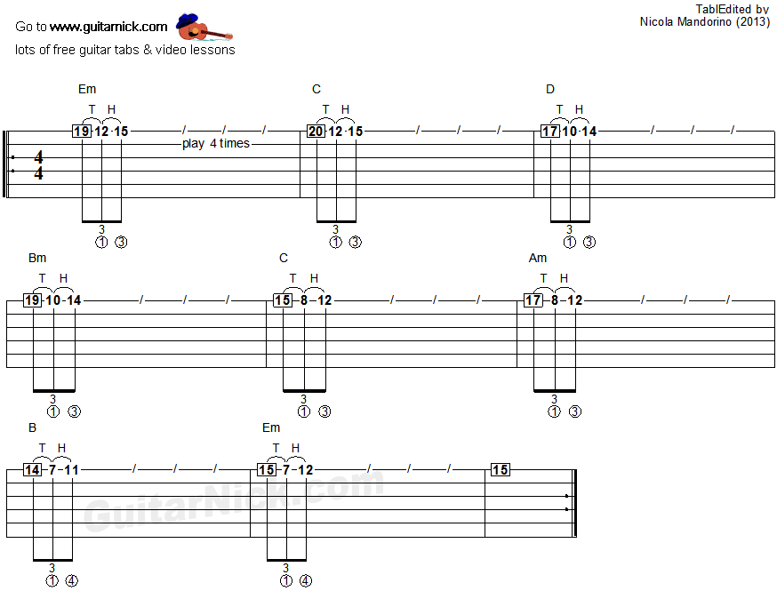 Tapping guitar lesson 32 - tablature