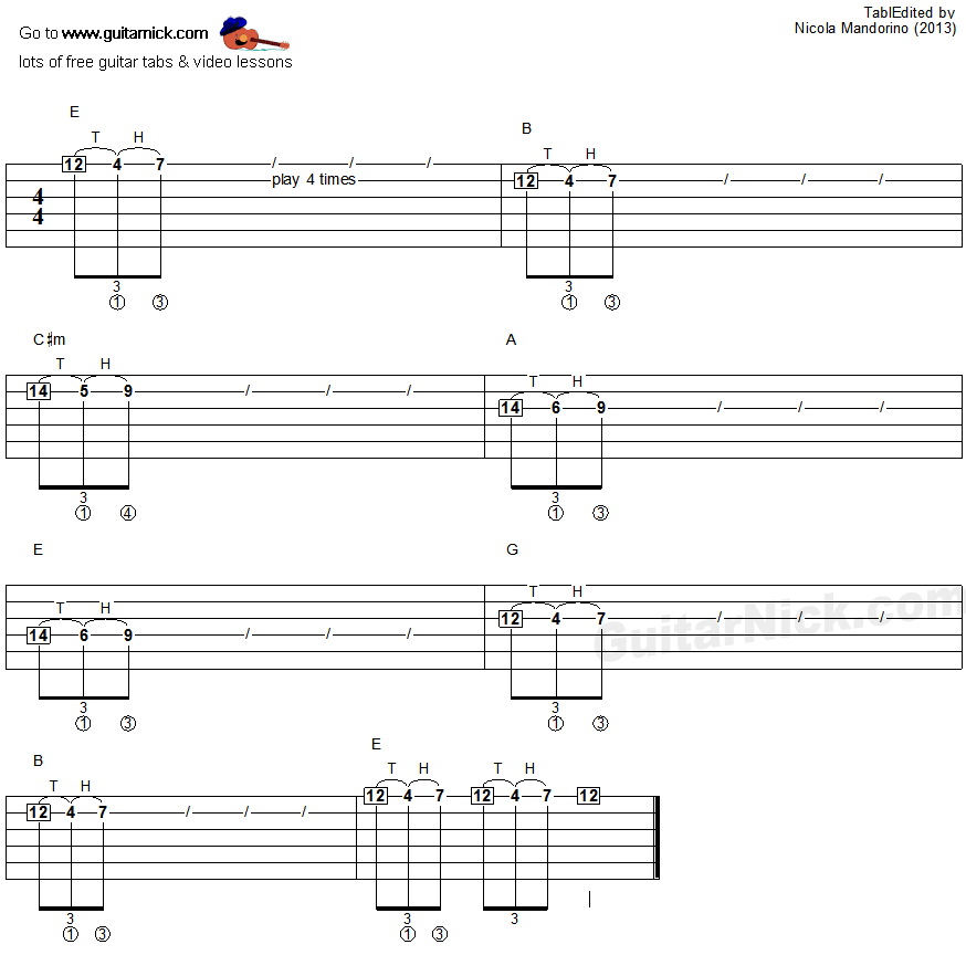 Tapping guitar lesson 33 - tablature