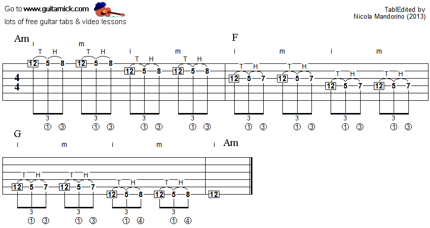 Tapping guitar lesson 36 - tablature