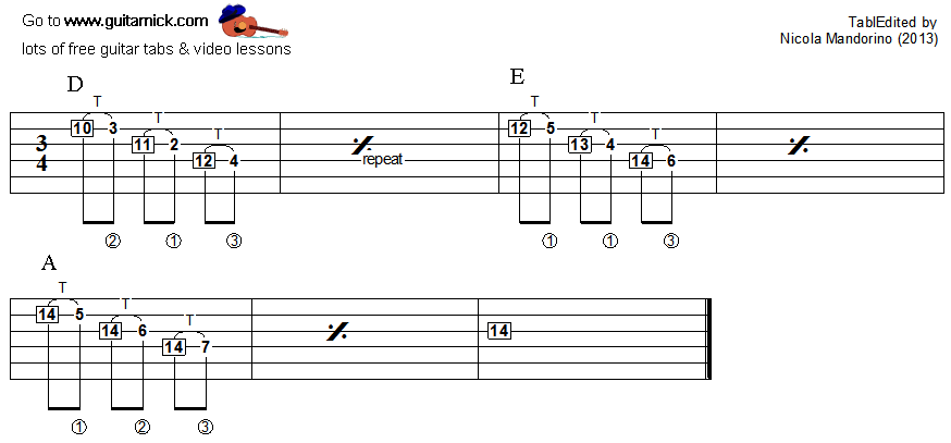Tapping guitar lesson 38 - tablature