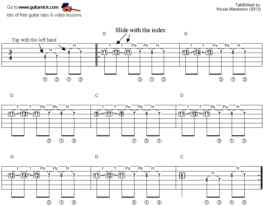 Tapping guitar lesson 39 - tablature