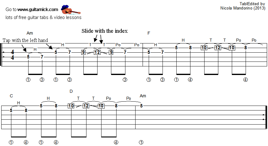 Tapping guitar lesson 40 - tablature