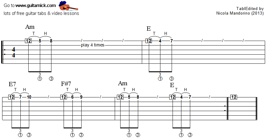 Tapping guitar lesson 5 - tablature