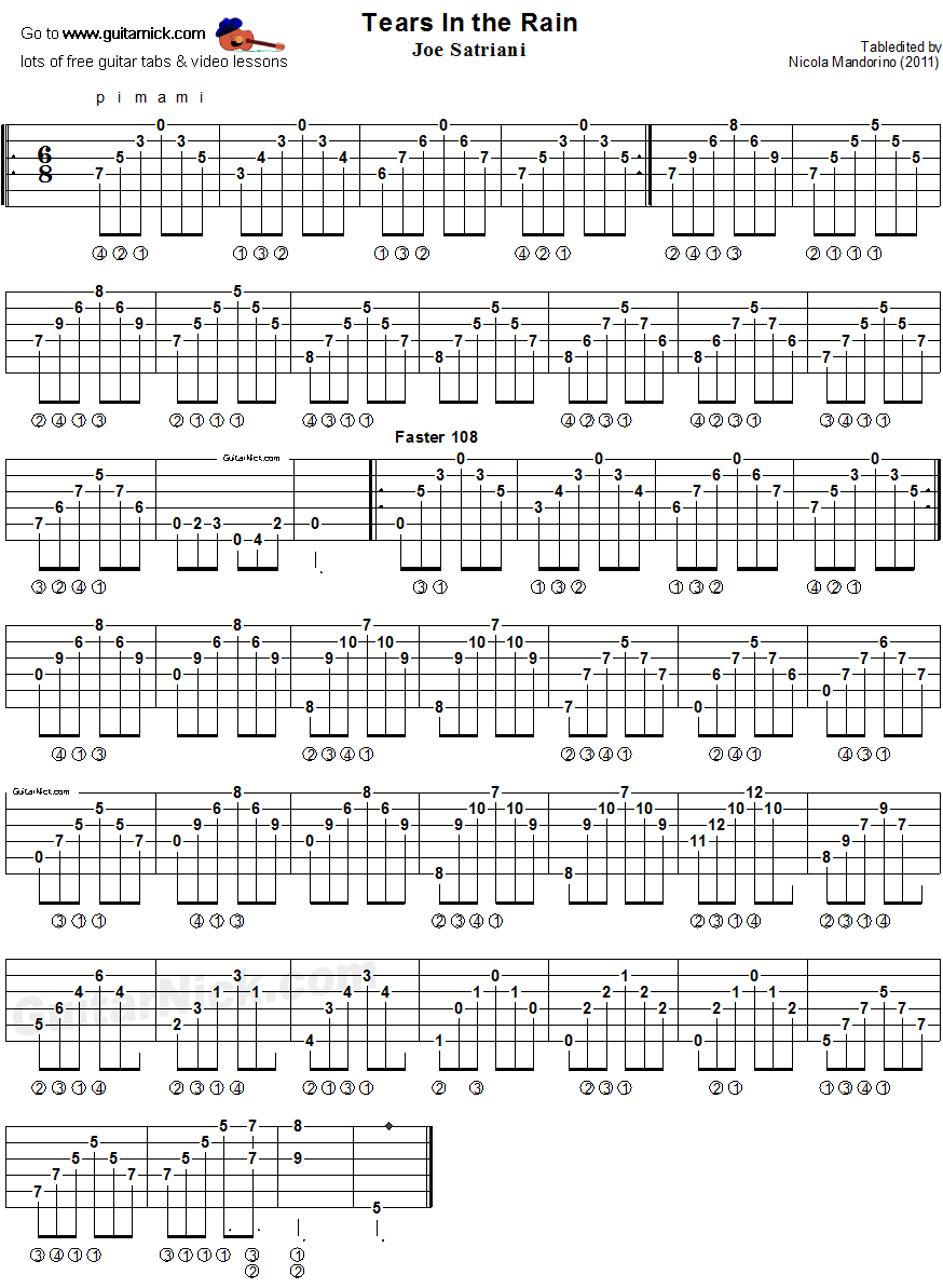 Tears In The Rain - guitar tablature