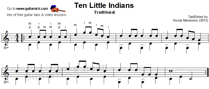Ten LIttle Indians - fingerpicking guitar sheet music