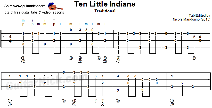 Ten LIttle Indians - fingerpicking guitar tablature