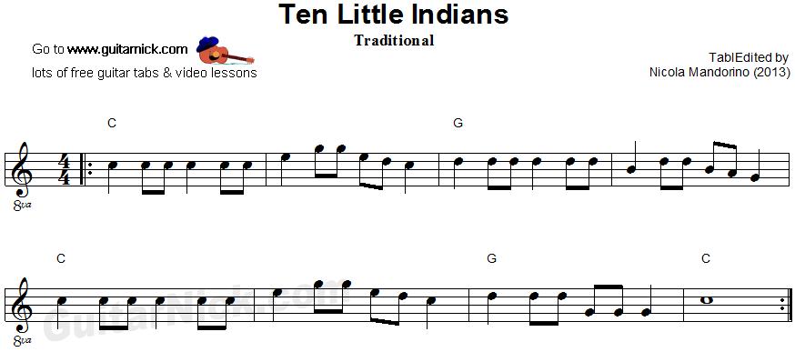 Ten Little Indians Easy Guitar Sheet Music