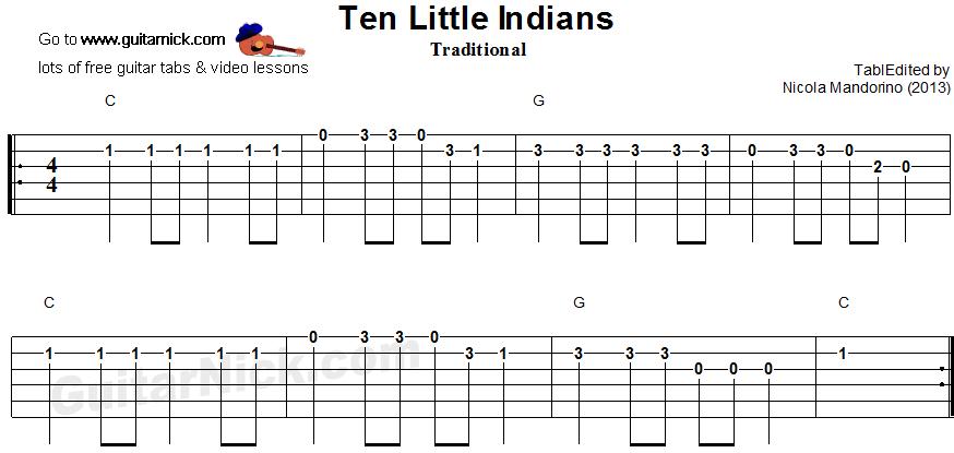 TEN LITTLE INDIANS Easy Guitar TAB: GuitarNick.com