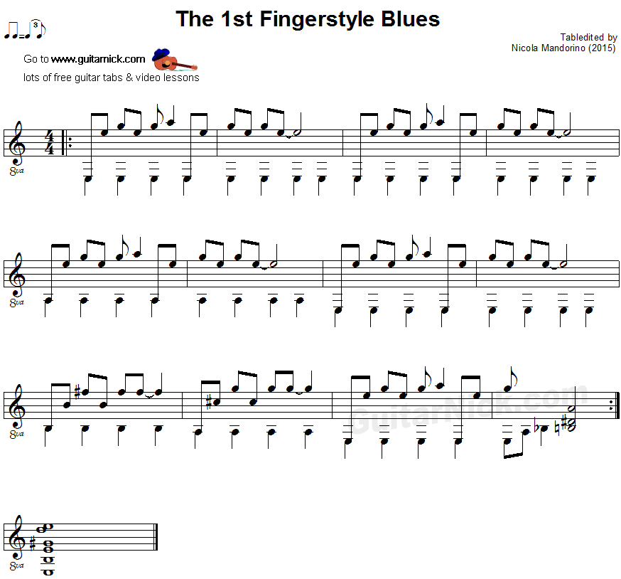 The 1st Fingerstyle Blues - guitar sheet music