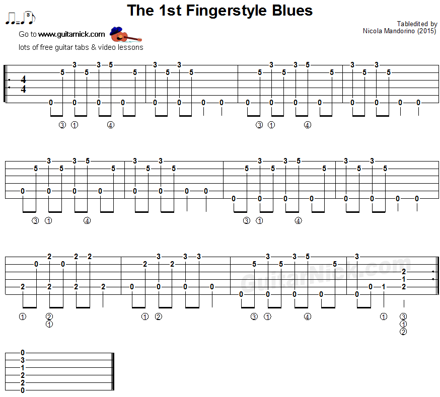 THE 1st FINGERSTYLE BLUES Guitar Lesson: GuitarNick com