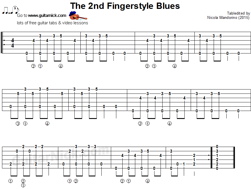 The 2nd fingerstyle blues - guitar tablature