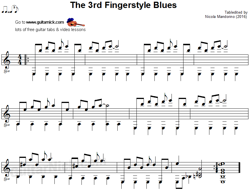 The 3rd Fingerstyle Blues - guitar sheet music