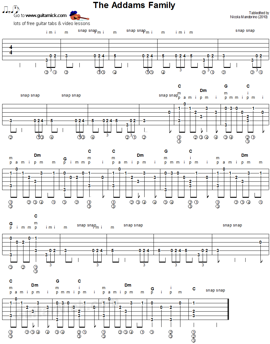 The Addams Family - fingerstyle guitar tablature